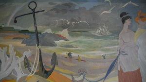 Detalj ur Tove Janssons väggmålning i Fredrikshamn.