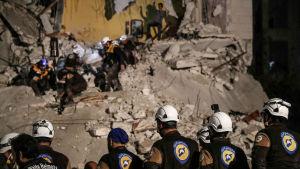 Bild på förstörelsen i Idlib, bilden från april 2018