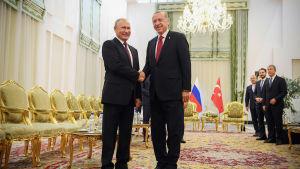 Vladimir Putin och Recep Tayyip Erdogan träffas i Iran den 7 september 2018