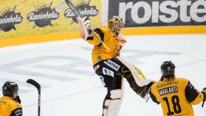 Niclas Westerholm jublar efter matchen mot Kärpät.