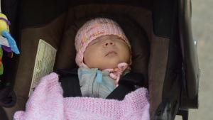 Babyn Nea Manelius i en bilstol.
