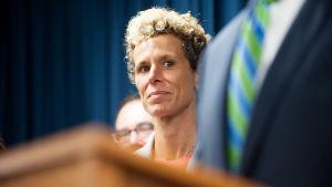 Andrea Constand efter domslutet vid domstolen i Norristown på tisdagen.