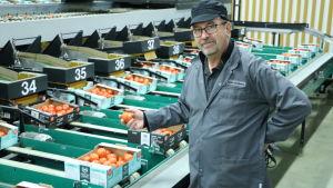 VD Stefan Skullbacka på Närpes Grönsaker visar runt i packeriet
