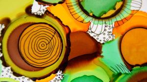 Ett abstrakt konstverk i blandteknik, tusch och alkohobläck