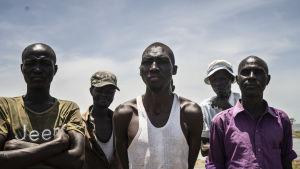 Allt fler fiskare kommer till sjön då  det blir svårt att hålla getter och kameler. Man ser på skorna vem som är nykomling säger de - de med sandaler gjorda av gamla bildäck har ofta nyligen bytt om från herdar till fiskare.