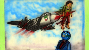 Saudi-kritisk väggteckning i huvudstaden Sanaa i Jemen
