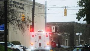 Synagogan som utsattes för attack i Pittsburgh.