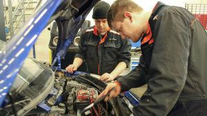 Rasmus Grönlund och John Westerlund tittar under motorhuvudet på en bil.