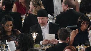 U2-gitarristen The Edge vid Nobelbanketten i Stockholm 2018.