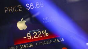Apples börskurs visas på en skärm i Times Square i New York
