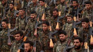Soldater ur den kurddominerade SDF-styrkan i Syrien