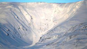 Lumivyöry rinteessä Norjan Kaafjordissa.