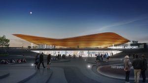 Nya ingången till Helsingfors-Vanda flygplats terminal 2.