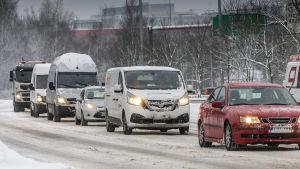 Talviliikennettä Helsingissä 23.1.2019.
