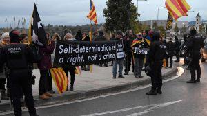Protest mot rättegången mot katalanska rebeller