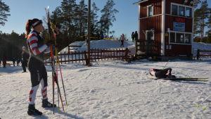 Malin Johansson och Åsa Lindberg vid målgången.