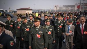 Kinas militärledning spelar en synlig roll i folkkongressen eftersom försvarsbudgeten och militära målsättningar också presenteras vid kongressen