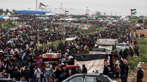 Palestinier demonstrerar i Malaka i Gaza 30.3.2019