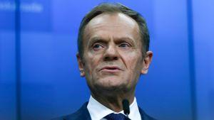 Donald Tusk under en presskonferens i Bryssel den 21 mars.