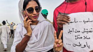 Alaa Salah - en av demonstranternas frontfigurer i Sudan