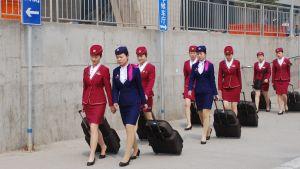 Kinesiska tågvärdinnor i sina blåa och röda kostymer på väg mot jobbet. I uniformen ingår högklackade svarta skor och en liten hatt. Värdinnorna drar på kappsäckar.