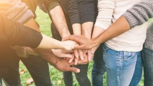 En grupp av vänner av varierande etnicitet håller händer i en grupp.