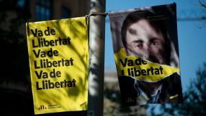 Kampanjaffisch för den fängslade Oriol Junqueras 13.4.2019 i Barcelona.