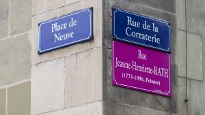 Gatunamnen i Genève har  fått kvinnonamn under den nationella kvinnostrejken 14.6.2019