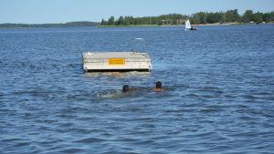 Barn som simmar till brygga.