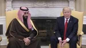 Salman bin Abdul Aziz och Donald Trump i Vita huset 14.3.2017.