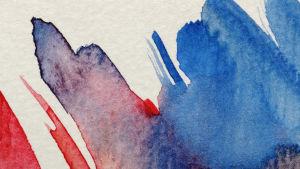 Abstrakt akvarellmålning med blått och rött.