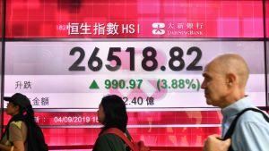 Börskursen tog ett skutt i Hongkong efter ett glädjebesked 4.9.2019