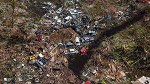 En flygbild som visar förödelsen på Grand Bahama efter orkanen Dorian.