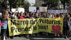 klimatdemonstranter i Lausanne i Schweiz