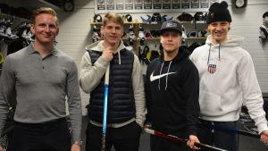 TPS-spelarna Filip Windlert, Anton Holm, Henrik Larsson och Tony Sund.