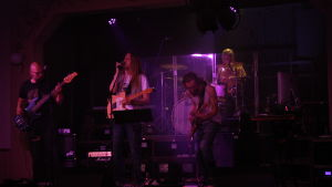 Bandet Biotic Engine uppträder på scenen.