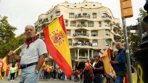 Demonstration för ett enat Spanien.  Barcelona 12.10.2019