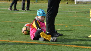 Fotbollsknatte spelar fotboll