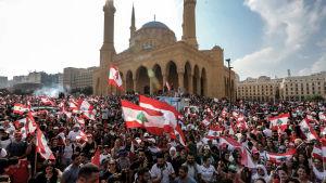 Lippuja liehuttava valtava ihmisjoukko taustalla moskeija.