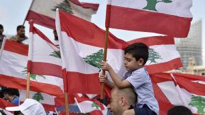 Libanesiskt barn bland flagghavet i Beirut på söndagen.