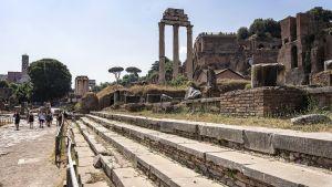 Kesäinen maisema Roomasta Forum Romanumin kaivauksilta.