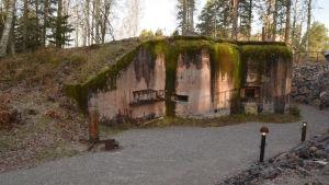 En krigstida bunker täckt av grön mossa.