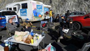 Katalansk blockad vid gränsen mellan Spanien och Frankrike