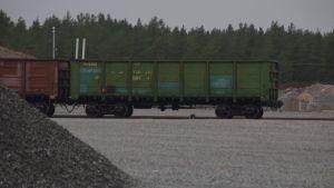 En tågvagn som hämtar antracit till Koverhar hamn.