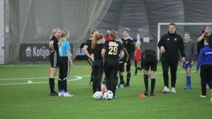 SeMin tyttöjen joukkue harjoittelee WallSport Areenalla.