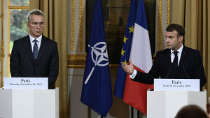 Jens Stoltenberg och Emmanuel Macron i Paris 28.11.2019