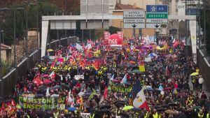 Strejkmarsch i Perpignan i södra Frankrike 5.12.2019