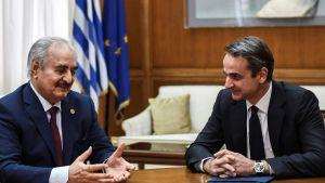 General Khalifa Haftar samtalar med Greklands premiärminister Kyriakos Mitsotakis