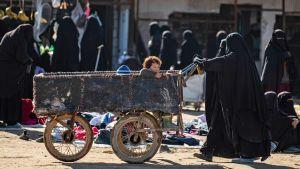 Kvinnor och barn på fånglägret al-Hol i nordöstra Syrien den 14 januari 2019.