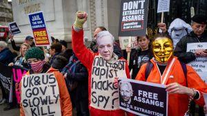 Demonstration till stöd för Julian Assange i London 22.2.2020